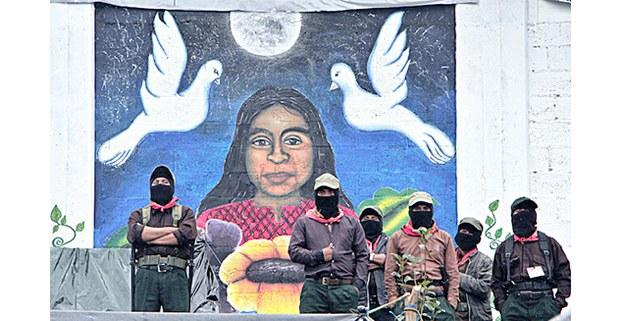 Mural con la Comandanta Ramona. Festival de cine Puy ta Cuxlejaltic (Caracol de nuestra vida), Oventic, Chiapas, noviembre de 2018. Foto: Noé Pineda