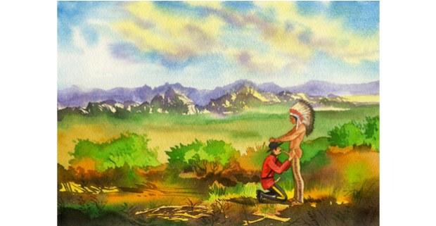 """El tratado de 1869"", acuarela de Kent Monkman, 2002."