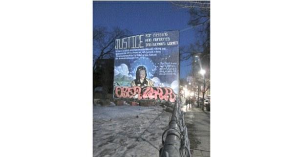 Mural exigiendo justicia para las indígenas desaparecidas, Montréal, Canadá, 2018. Foto: Hermann Bellinghausen