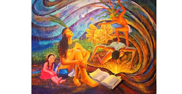 Coordenadas universales, acrílico sobre tela de Juan Chawuk