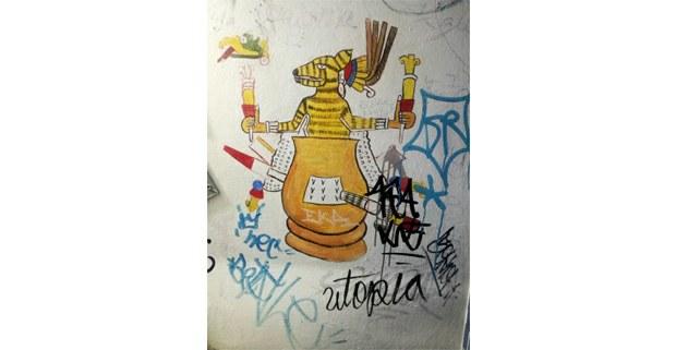 """Pulquería """"La paloma azul"""", mural intervenido en el baño. Ciudad de México, 2019. Foto: Hermann Bellinghausen"""