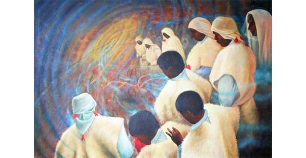 Persistencia del tiempo, acrílico sobre tela de Juan Chawuk, National Museum of Mexican Art, Chicago