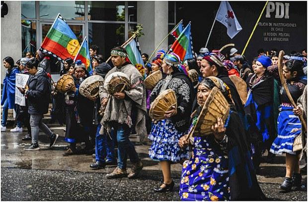 Protesta mapuche en Temuco, Chile, octubre de 2019. Foto: Felipe Contreras Salazar