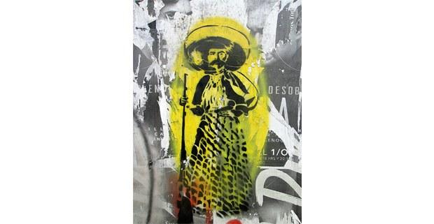 Zapata en enaguas, esténcil callejero de Diego Álvarez, 2019, Coyoacán. Foto: Ojarasca