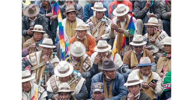 Movilización indígena en La Paz para exigir la salida de Jeanine Áñez. Foto: Gerardo Magallón