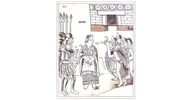Malinzin fungiendo como intérprete durante el primer encuentro de Cortés y Motecuhzoma II. Códice Florentino