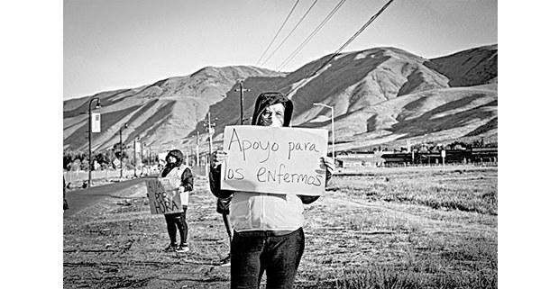Huelguistas en Allan Brothers Fruit, Washington, 2020. Foto: Xolotl Edgar Franx