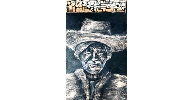 Mirando pasar la vida. Carboncillo en panel de madera: Lamberto Roque Hernández