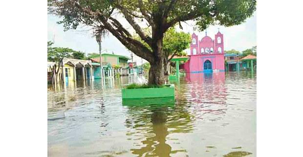 Inundación en Nacajuca, Tabasco, 2020. Foto: Asociación Ecológica Santo Tomás