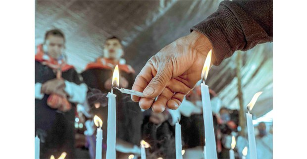 Ceremonia durante el 20 aniversario de la reubicación de desplazados de las Abejas de Acteal en Nuevo Yibeljoj, Chenalhó. 12 de septiembre de 2020. Foto: Luis Enrique Aguilar