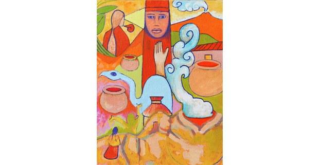 Detalle de pintura de Saul Kak