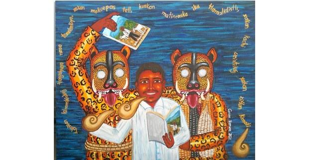 Las lenguas originarias, 500 años en resistencia. Pintura de Griss Romero