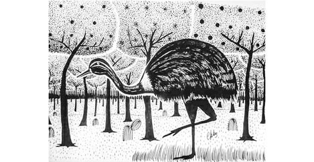 Avestruz. Grabado de Clemente Juliuz David, artista indígena del Chaco paraguayo