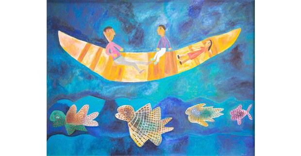 El trabajo también atraviesa las aguas. Pintura de Domi, artista mazateca. En Tzam/ Semillas: https://tzamtrecesemillas.org/sitio/ category/13semillas/trabajo/