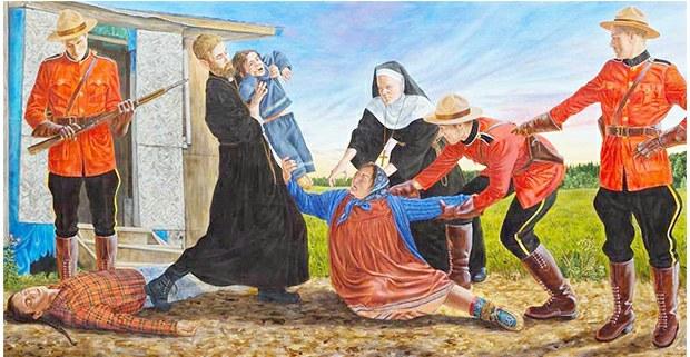 A Mother's Grief (El sufrimiento de una madre). Pintura de Kent Monkman, artista cree de Manitoba, Canadá