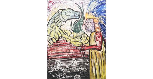 De la serie 1521-2021. A sólo 500 años. Monotipos de Filogonio Naxin, artista mazateco de Oaxaca